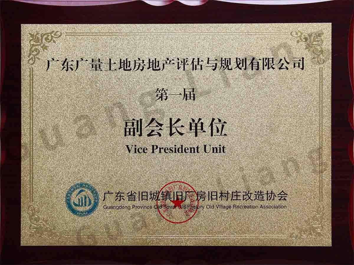 广东省旧城镇旧厂房旧村庄改造协会副会长单位